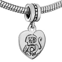 Charms Beads - ZODIAC ANIMAL CHARM FOR BRACELET SIGN MONKEY DANGLE HEART LOVE CHARM S alternate image 1.