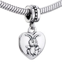 Charms Beads - ZODIAC ANIMAL CHARMS FOR SIGN HARE DANGLE HEART LOVE CHARM BEADS alternate image 1.