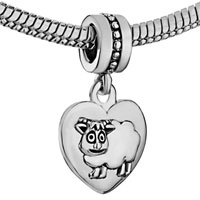 Charms Beads - ZODIAC ANIMAL CHARMS FOR SIGN SHEEP DANGLE HEART LOVE CHARM BEADS alternate image 1.