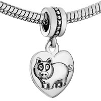 Charms Beads - ZODIAC ANIMAL CHARMS FOR SIGN BOAR DANGLE HEART LOVE CHARM BEADS alternate image 1.