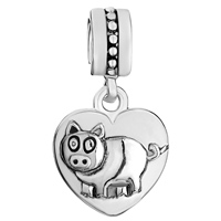 Charms Beads - ZODIAC ANIMAL CHARMS FOR SIGN BOAR DANGLE HEART LOVE CHARM BEADS alternate image 2.
