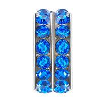 European Beads - ROUND SAPPHIRE RHINESTONE CRYSTAL BLUE FIT ALL BRANDS BEADS CHARMS BRACELETS alternate image 1.