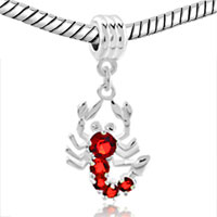 Charms Beads - SILVER JULY BIRTHSTONE RED RUBY SCORPION CHARM BRACELET SPACER DANGLE alternate image 1.