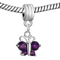 DPC_HD04_X02: SILVER BUTTERFLY CHARM BRACELET AMETHYST PURPLE FEBRUARY BIRTHS SPACER alternate image 1.