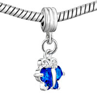 Charms Beads - TOPAZ DECEMBER BIRTHSTONE BUTTERFLY CHARM SPACER DANGLE BEADS CHARM alternate image 1.