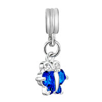Charms Beads - TOPAZ DECEMBER BIRTHSTONE BUTTERFLY CHARM SPACER DANGLE BEADS CHARM alternate image 2.