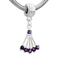 European Beads - FEBRUARY BIRTHSTONE AMETHYST SECTOR DANGLE EUROPEAN BEADS ALL BRANDS CHARMS BRACELETS alternate image 2.
