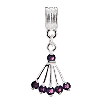 European Beads - FEBRUARY BIRTHSTONE AMETHYST SECTOR DANGLE EUROPEAN BEADS ALL BRANDS CHARMS BRACELETS alternate image 1.