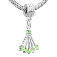 Charms Beads - PERIDOT GREEN AUGUST BIRTHS SECTOR FANCY CHARM BRACELET SPACER DANGLE alternate image 1.