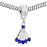 European Beads - SEPTEMBER BIRTHSTONE SAPPHIRE SECTOR DANGLE EUROPEAN BEADS ALL BRANDS CHARMS BRACELETS alternate image 2.