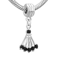 Charms Beads - SILVER PLATED BLACK ONYX SECTOR FANCY CHARM BRACELET SPACERS DANGLE alternate image 1.