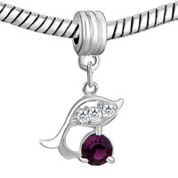 Charms Beads - DOLPHIN WITH AMETHYST PURPLE FEBRUARY BIRTHS CHARM SPACERS DANGLE alternate image 1.