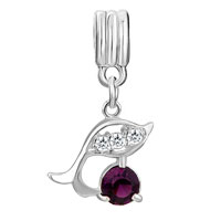 Charms Beads - DOLPHIN WITH AMETHYST PURPLE FEBRUARY BIRTHS CHARM SPACERS DANGLE alternate image 2.