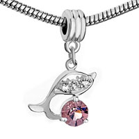 Charms Beads - SILVER DOLPHIN AMETHYST PURPLE FEBRUARY BIRTHS CHARM SPACERS DANGLE alternate image 1.