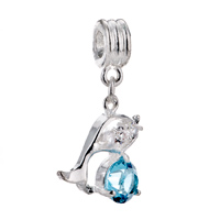  - MAR BIRTHSTONE AQUAMARINE BLUE CRYSTAL DIAMOND ACCENT DOLPHIN ANIMAL BEAD CHARM alternate image 2.