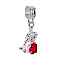 - JUL BIRTHSTONE LIGHT RED CRYSTAL DIAMOND ACCENT DOLPHIN BEAD CHARM ALL BRAND BRACELET alternate image 2.