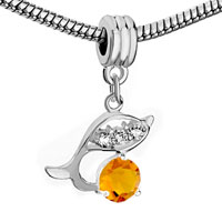 Charms Beads - SILVER DOLPHIN NOVEMBER BIRTHS CITRINE YELLOW CHARM SPACERS DANGLE alternate image 1.