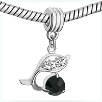 Charms Beads - SILVER DOLPHIN WITH BLACK CRYSTAL CHARM BRACELET SPACER DANGLE alternate image 1.