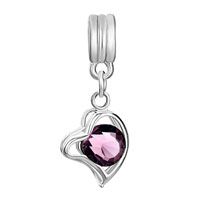 Charms Beads - SILVER AMETHYST PURPLE FEBRUARY BIRTHS HEART LOVE CHARM SPACER DANGLE alternate image 2.