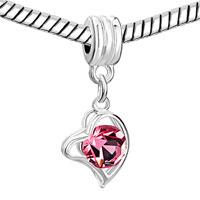 Charms Beads - LOVE GIFT ROSE CRYSTAL HEART CHARM BRACELET DANGLE EUROPEAN BEAD alternate image 1.