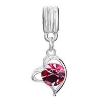 Charms Beads - LOVE GIFT ROSE CRYSTAL HEART CHARM BRACELET DANGLE EUROPEAN BEAD alternate image 2.