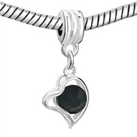 Charms Beads - SILVER PLATED CLASSIC BLACK HEART FANCY CHARM BRACELET SPACER DANGLE alternate image 1.