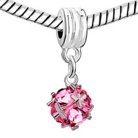 Charms Beads - SILVER OCTOBER BIRTHSTONE ROSE PINK FANCY CHARM BRACELET SPACER DANGLE alternate image 1.