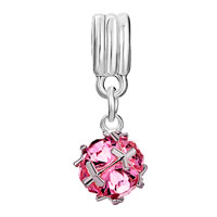 Charms Beads - SILVER OCTOBER BIRTHSTONE ROSE PINK FANCY CHARM BRACELET SPACER DANGLE alternate image 2.