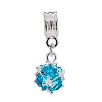 Charms Beads - SILVER MARCH BIRTHS AQUAMARINE BLUE FANCY CHARM BRACELET SPACER DANGLE alternate image 2.