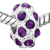 European Beads - FEB BIRTHSTONE AMETHYST PURPLE CRYSTAL DIAMOND ACCENT CLEAR WHITE BALL BEADS CHARMS BRACELETS alternate image 2.