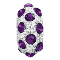 Charms Beads - WHITE BALL FEBURARY BIRTHSTONE PURPLE CRYSTAL STRIPE EUROPEAN BEAD alternate image 2.