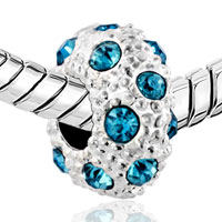 DPC_HD10_X03: SILVER WHITE BALL MARCH BIRTHSTONE BLUE CRYSTAL STRIPE EUROPEAN BEAD alternate image 1.