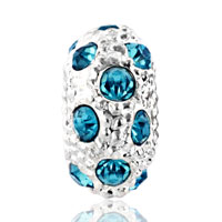 DPC_HD10_X03: SILVER WHITE BALL MARCH BIRTHSTONE BLUE CRYSTAL STRIPE EUROPEAN BEAD alternate image 2.