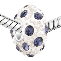 Charms Beads - WHITE BALL JUNE BIRTHSTONE ALEXANDRITE CRYSTAL STRIPE EUROPEAN BEAD alternate image 1.