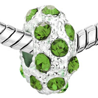 Charms Beads - SILVER AUGUST BIRTHSTONE PERIDOT GREEN CRYSTAL STRIPE EUROPEAN BEAD alternate image 1.