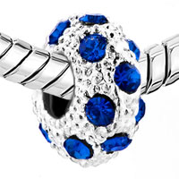 Charms Beads - WHITE BALL SEPTEMBER BIRTHSTONE SAPPHIRE BLUE CRYSTAL STRIPE BEAD alternate image 1.