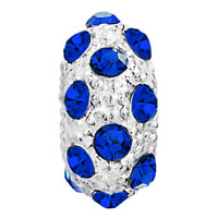 Charms Beads - WHITE BALL SEPTEMBER BIRTHSTONE SAPPHIRE BLUE CRYSTAL STRIPE BEAD alternate image 2.