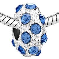 Charms Beads - SILVER DECEMBER BIRTHSTONE BLUE ZIRCON CRYSTAL STRIPE EUROPEAN BEAD alternate image 1.