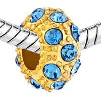 Charms Beads - LUCKY BALL AQUAMARINE BLUE GOLD PLATED BEADS CHARMS BRACELETS FIT ALL BRANDS alternate image 1.