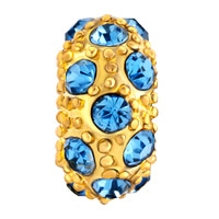 Charms Beads - LUCKY BALL AQUAMARINE BLUE GOLD PLATED BEADS CHARMS BRACELETS FIT ALL BRANDS alternate image 2.