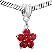 Charms Beads - SILVER JANUARY BIRTHS GARNET RED FLOWER CHARM BRACELET SPACER DANGLE alternate image 1.