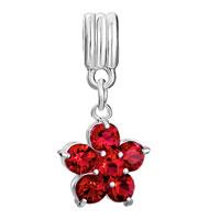 Charms Beads - SILVER JANUARY BIRTHS GARNET RED FLOWER CHARM BRACELET SPACER DANGLE alternate image 2.