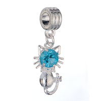 Charms Beads - BIRTHSTONE CHARMS CUTE CAT AQUAMARINE CRYSTAL MARCH BIRTHSTONE DANGLE BEADS alternate image 1.