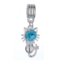 Charms Beads - BIRTHSTONE CHARMS CUTE CAT AQUAMARINE CRYSTAL MARCH BIRTHSTONE DANGLE BEADS alternate image 2.