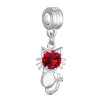 Charms Beads - SILVER PLATED CAT CHARM BRACELET RED CRYSTAL JULY BIRTHSTONE DANGLE alternate image 1.