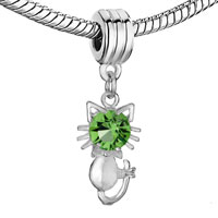 Charms Beads - CUTE KITTY CAT CHARM BRACELET PERIDOT CRYSTAL AUGUST BIRTHSTONE SPACER alternate image 1.