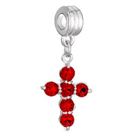 Charms Beads - SILVER CROSS BRACELET CHARM RED CRYSTAL JULY BIRTHSTONE DANGLE alternate image 1.
