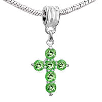 Charms Beads - CROSS PERIDOT CRYSTAL AUGUST BIRTHSTONE CHARM BRACELET SPACER DANGLE alternate image 1.