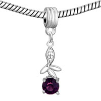 Charms Beads - FLOWER CHARMS BRACELETS AMETHYST CRYSTAL FEBRUARY BIRTHSTONE DANGLE alternate image 1.
