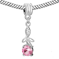 Charms Beads - FLOWER CHARMS BRACELETS PINK CRYSTAL OCTOBER BIRTHSTONE DANGLE alternate image 1.